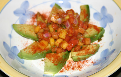 Avocado with tropical Salsa meal