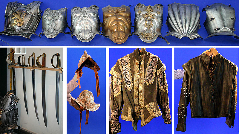 period costumes, roman breastplates, knight armor, swords, conqusitador helmets, medeival costumes