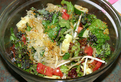 raw Kale salad with sauerkraut