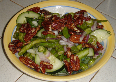 raw silicon salad with okra and nopales cactus