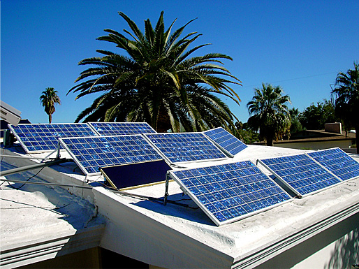 pv panels on roof of solar powered home. Solar panels make no noise