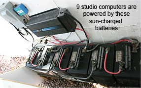 9 studio computers are powered by these sun-charged solar batteries