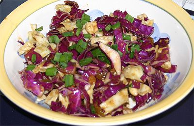 spicy thai cabbage salad with cashews