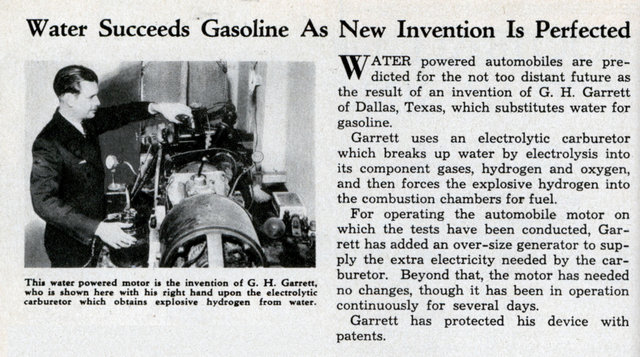 The water engine replaces old gasoline engine. Fuel cell technology is actually almost a century old.  Engines running on water existed already in 1934